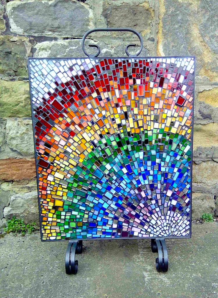 stained glass fire screens