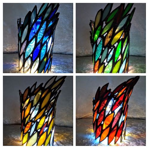 stained glass tea light holders