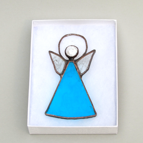 blue stained glass angel decorations