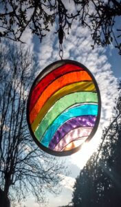 rainbow circle stained glass decorations