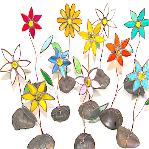 stained glass flower ornaments