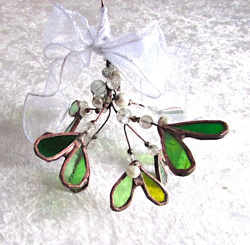 mistletoe stained glass decorations