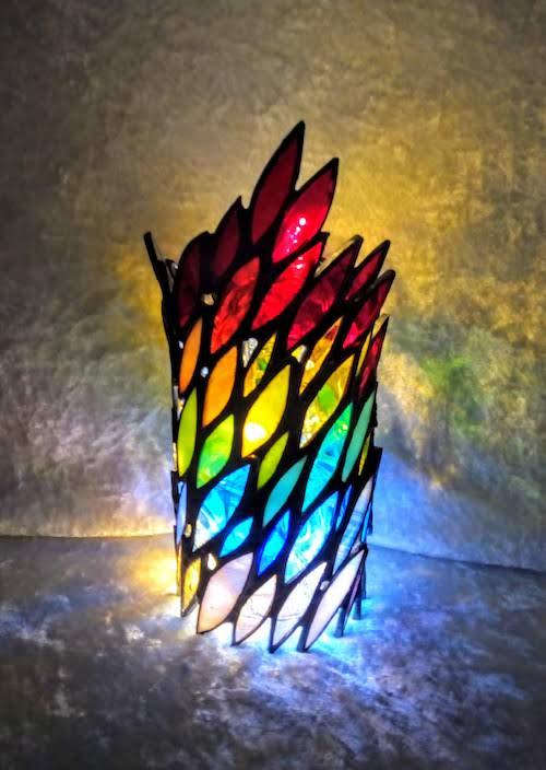 rainbow coloured tea light holder