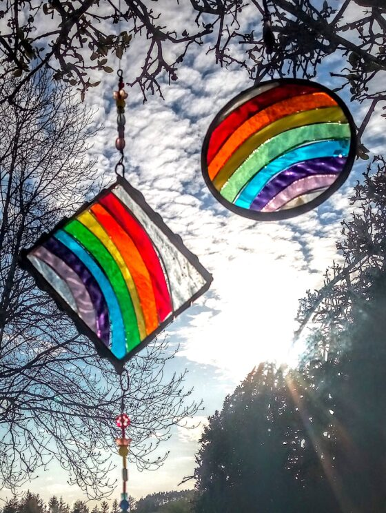 rainbow stained glass decorations