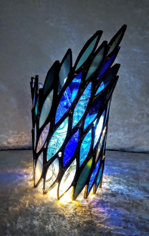 blue tea light holder