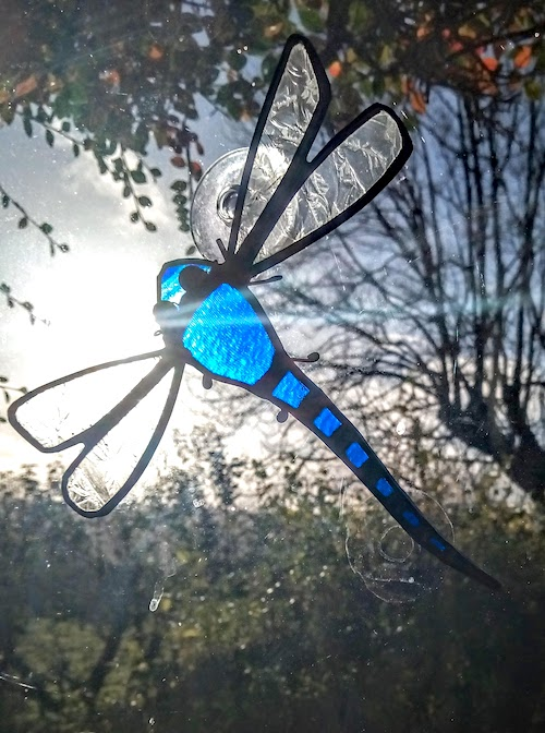 stain glass blue dragonfly