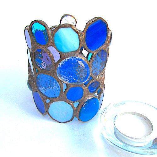 blue tealight holder