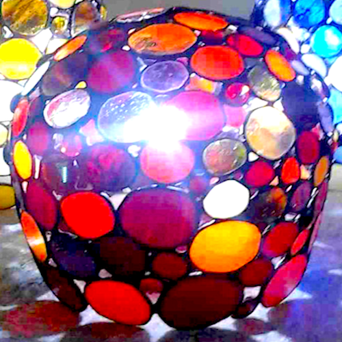 red bubble lamp
