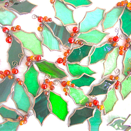 stained glass holly decorations