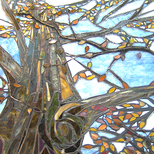 lone tree stained glass art