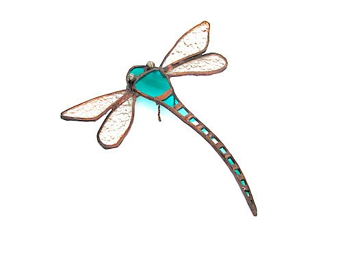 stain glass turquoise dragonfly