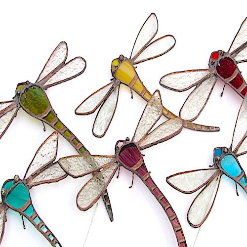 stained glass dragonfly ornaments