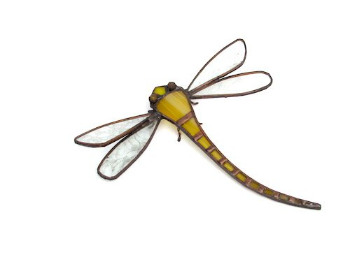 yellow dragonfly in stained glass